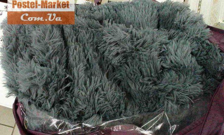 Покрывало Длинноворсовый искусственный мех темно-серое . Купить Покрывало Длинноворсовый искусственный мех темно-серое в интернет магазине Постель маркет (Киев, Украина)