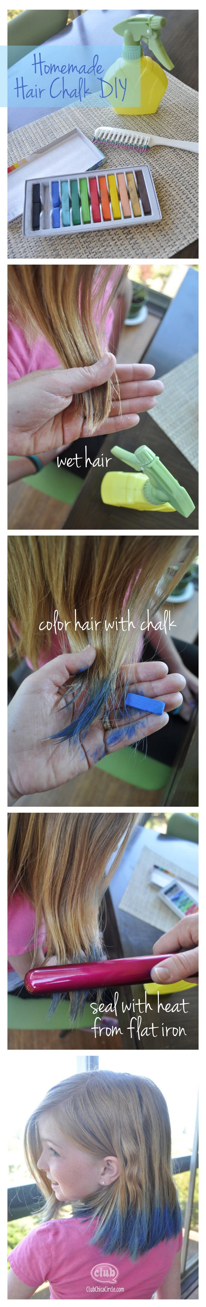 temporarily dye hair with chalk