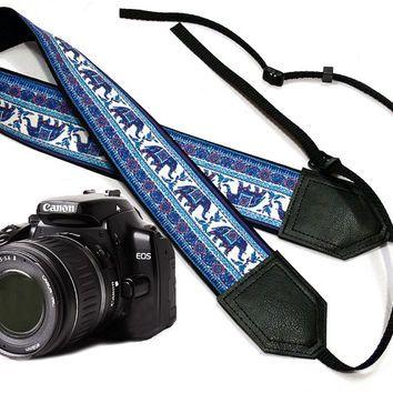 Elephant camera strap. Ethnic camera strap. DSLR Camera Strap. Camera accessories. Nikon Canon camera strap.