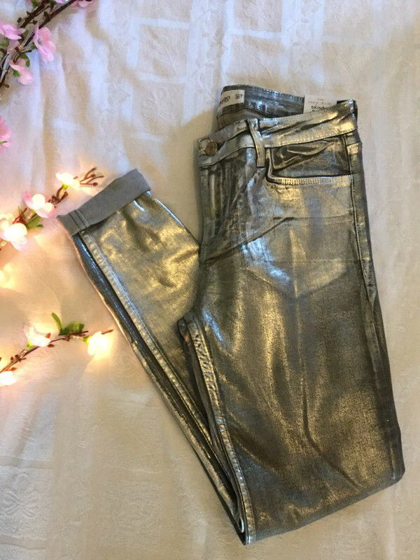 My Mango distressed silver skinny jeans by Mango. Size 12 / M for £21.75: http://www.vinted.co.uk/womens-clothing/skinny-jeans/7170054-mango-distressed-silver-skinny-jeans.