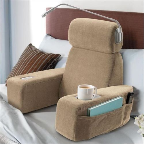 My extreme laziness would be complete with this little gem.: Gift, Idea, Beds Pillows, Bedrest, Massage Beds, Beds Rest, Cups Holders, Memorial Drinks, Products