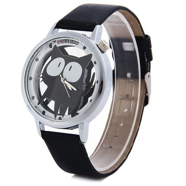 Shiweibao A7741 Cat Design Transparent Dial Quartz Watch Leather Strap... (1.345 HUF) ❤ liked on Polyvore featuring jewelry, watches, quartz jewelry, see through watches, quartz wrist watch, cat jewelry and leather-strap watches