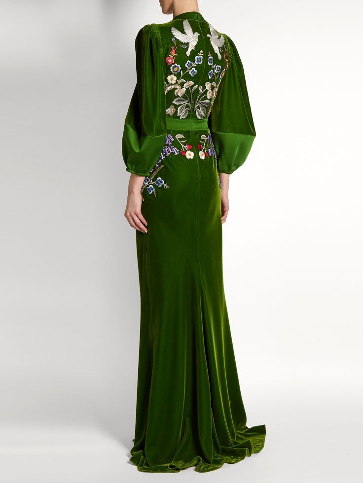 Click here to buy Alexander McQueen Deep V-neck embroidered velvet gown at MATCHESFASHION.COM