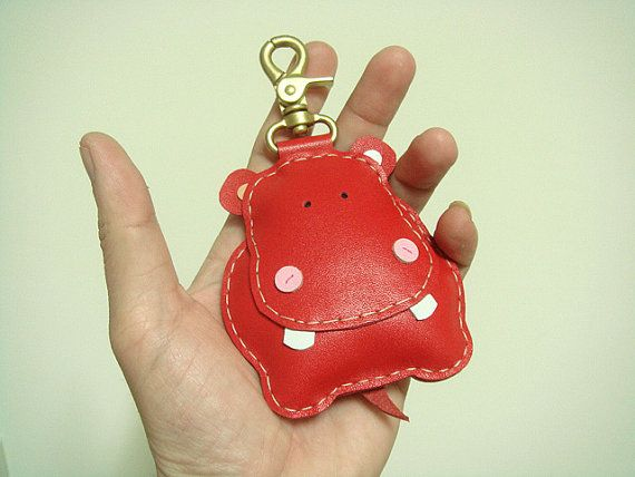 BIG Hugo the Hippo Leather Bag Charm  Red  by leatherprince, $43.90