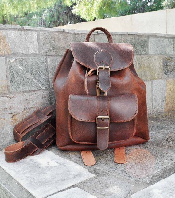 Leather Women backpack women backpack brown by ccfashionstr