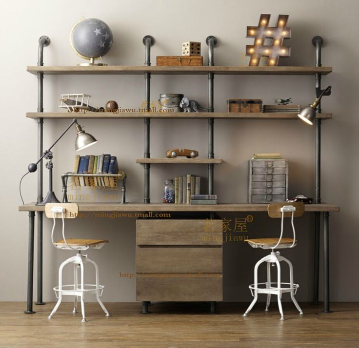 American Retro loft water piping wood layer separator wall shelf ...