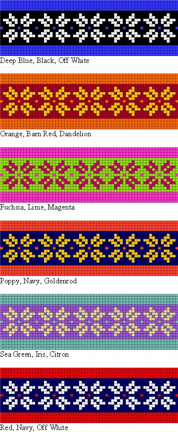 colorwork possibilities for the Two Strands Headband free knitting pattern for teaching Norwegian and Fair Isle style stranded knitting