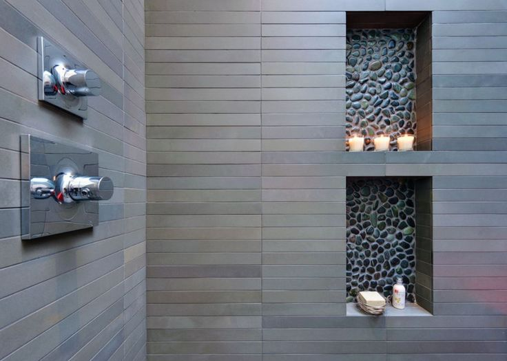 Black Pebble Tile Shower Niches In An Architectural Bathroom By Michael  Tauber Via Atticmag.com