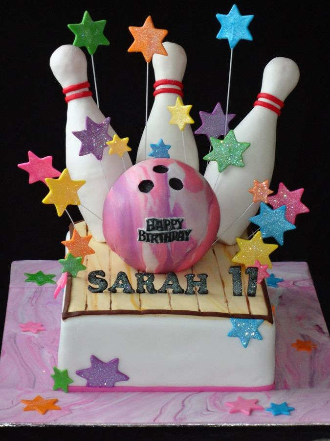 Bowling birthday cake for a girl