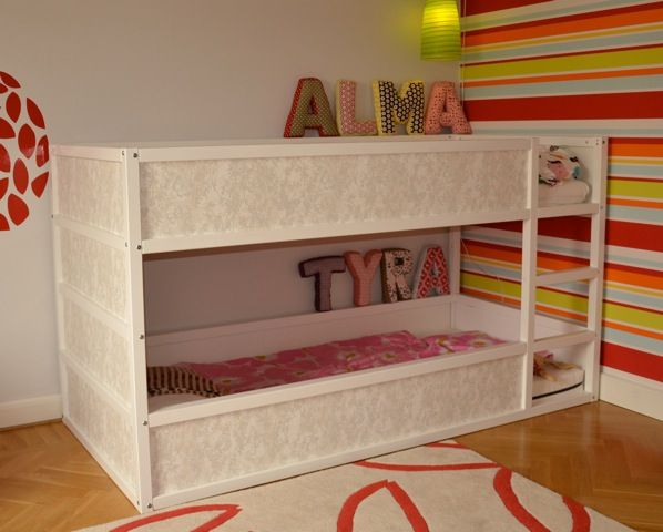Kura Bunk Bed painted and using wallpaper! Reminder: don't forget to use raised slats or a bunky board.