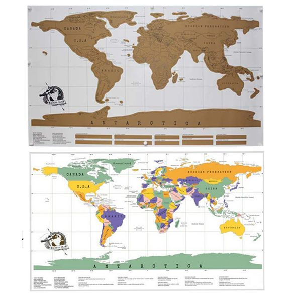 Travel Scratch Off Map Personalized World Map Poster Traveler Vacation Log National Geographic Wall Sticker Home Car Decoration