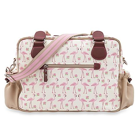 Pink Lining Not So Plain Jane Flamingo Walk Diaper Bag in Cream/Pink