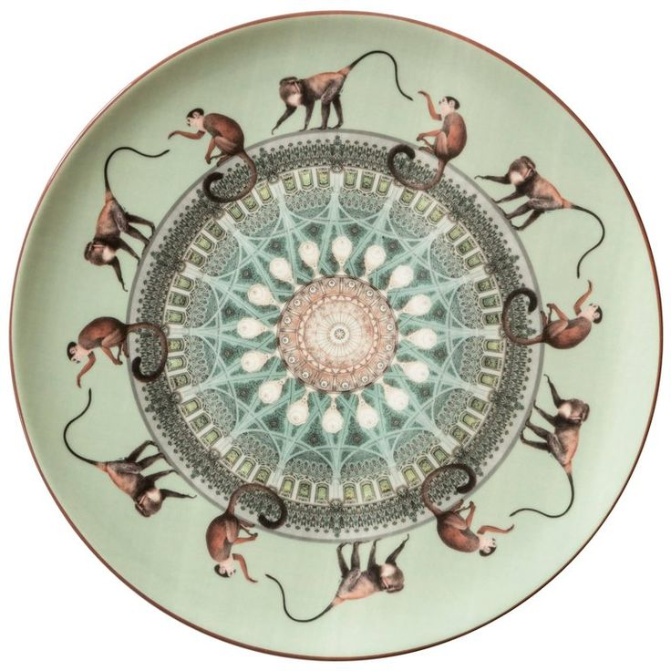 Scimmie Porcelain Dinner Plate by Vito Nesta for Les Ottomans, Made in Italy | From a unique collection of antique and modern dinner plates at https://www.1stdibs.com/furniture/dining-entertaining/dinner-plates/