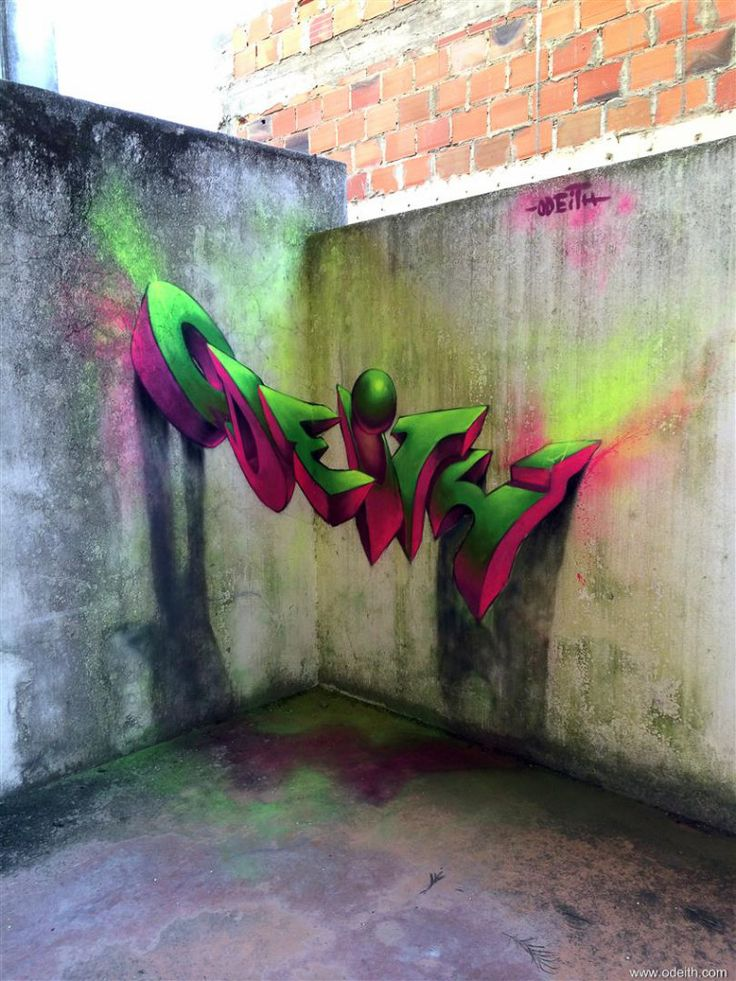 Odeith Anamorphic 3d Graffiti Letters Pink And Green Fluor Lights Lisboa Portugal