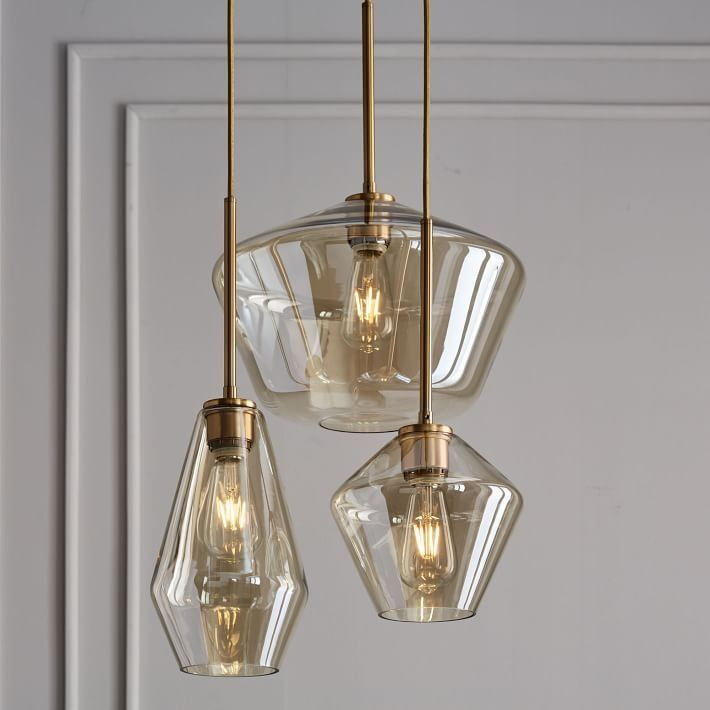 Sculptural glass geo 3 light chandelier create lighting with a custom feel with our sculptural