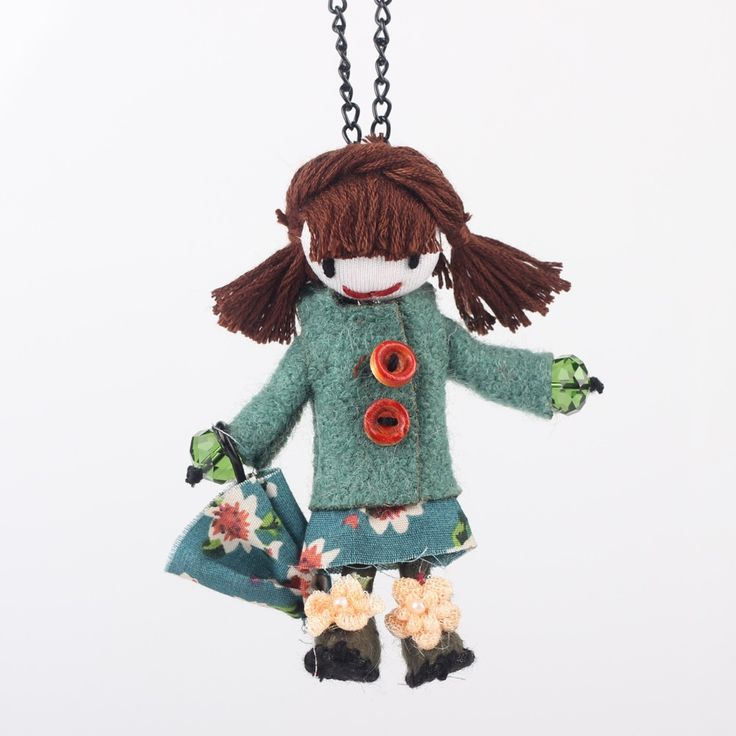 Bonsny Handmade Doll French Girls Statement Necklaces Cloth Long Chain Pendants 2015 News Cute Choker Girls Women Accessories #Affiliate