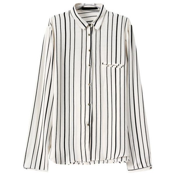 6ee4446a80e86e Romwe Vertical Striped Buttons White Blouse (£8.17) ❤ liked on Polyvore  featuring tops