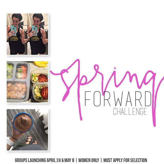 Spring FORWARD Challenge: April & May Enrollment    Overindulge a bit on chocolate bunnies and need a cleanse?  Totally lost on the concept of meal planning & healthy eating as a lifestyle change?  Need a workout plan that you can enjoy & wont take up an hour or more of your day?  Or maybe all of the above?    Well because helping out your fellow girlfriends & taking care of yourself doesn't stop when getting pretty darn preggo.. I'm starting TWO new accountability groups over the next few…