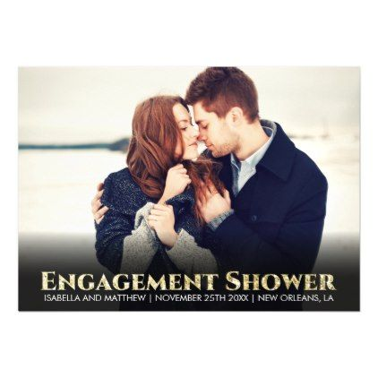 #engagement #party #invitations - #Sparkly Gold Glitter Font | Customized Pic Magnetic Card