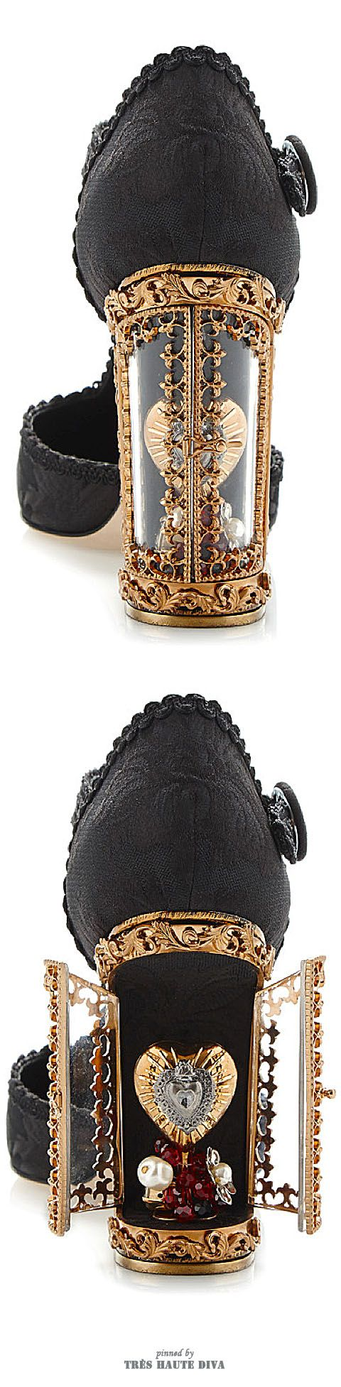 Dolce & Gabbana Black Jacquard T-Strap Mary Jane With Window Pane Pump ♔ SS 2015