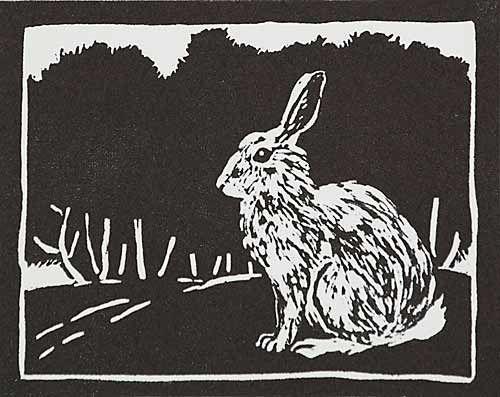 Quot rabbit linocut by ilse van garderen http