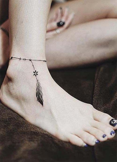 ankle brecelet tattoo wit feather ayak bileği tüylü halhal dövmesi