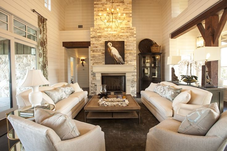 Southern Living: 2013 Southern Living Showcase House - Two-story living room with tongue and groove walls ...Love that fireplace!