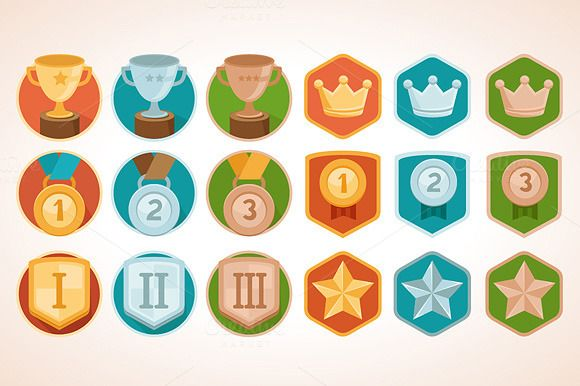 Flat vector achievement badges by venimo on @creativemarket