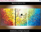 """Grande astratto arte originale moderno pesante consistenza Impasto panorama spatola albero amore uccelli pittura decorazione della parete """"Il sole splende su di noi"""""""