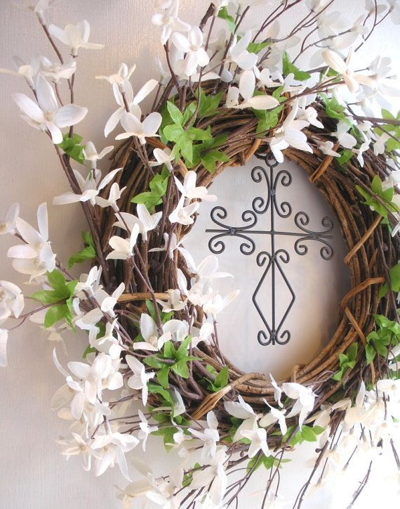 Easter Wreath With Cross And White Wildflowers By AllisonStrider 3000