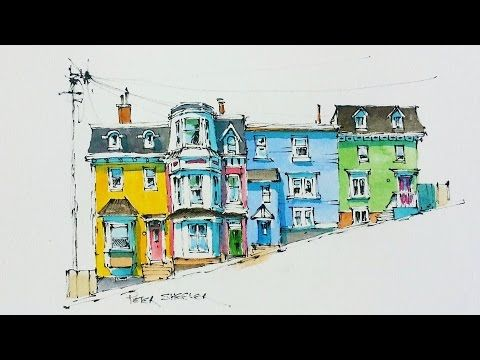 Line and Wash Watercolor Tutorial of Colorful Row Houses in St John's, Newfoundland. Peter Sheeler - YouTube