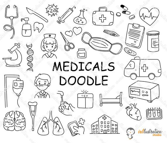 Medical Clipart Medical Doodle Health Doctor Accessories Life Hospital How To Draw Hands Doodle Patterns Doodles