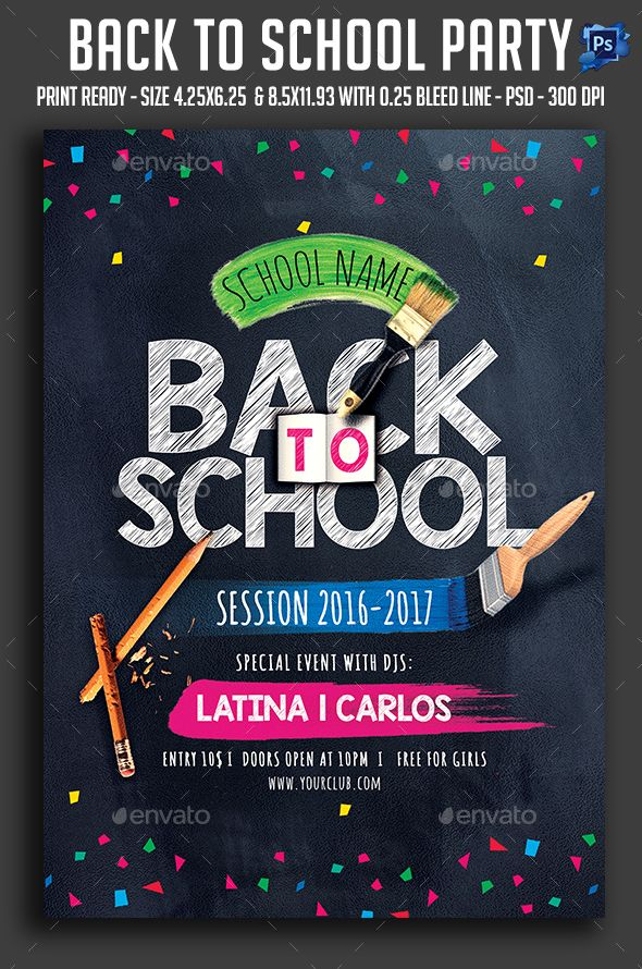 Back To School Party Flyer Template PSD. Download here: http://graphicriver.net/item/back-to-school-party-flyer/16124367?ref=ksioks