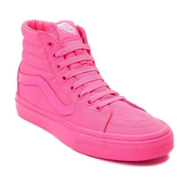 NEW Vans Sk8 Hi Skate PINK Mono Yeezy Monotone Monochrome Womens High... ($100) ❤ liked on Polyvore featuring shoes, sneakers, high-top sneakers, pink high top sneakers, vans high tops, leather sneakers and skate shoes high tops
