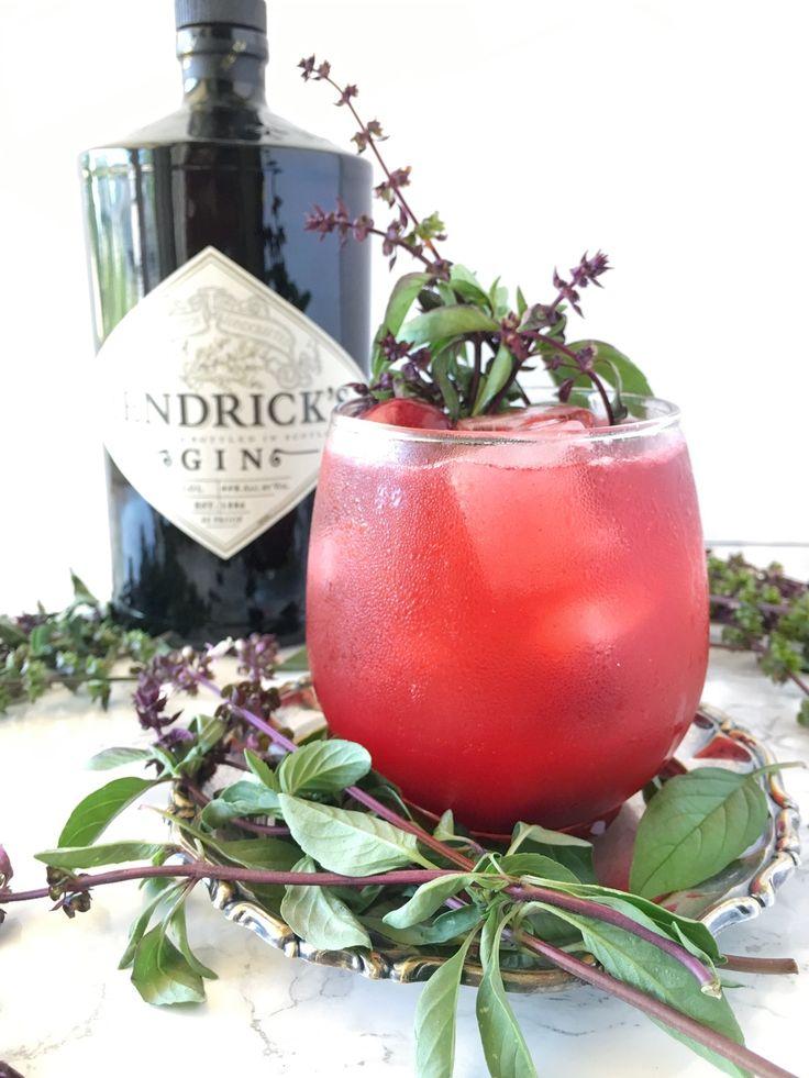 Thai Basil + Cherry Sparkling Gin Smash || fern + shaker