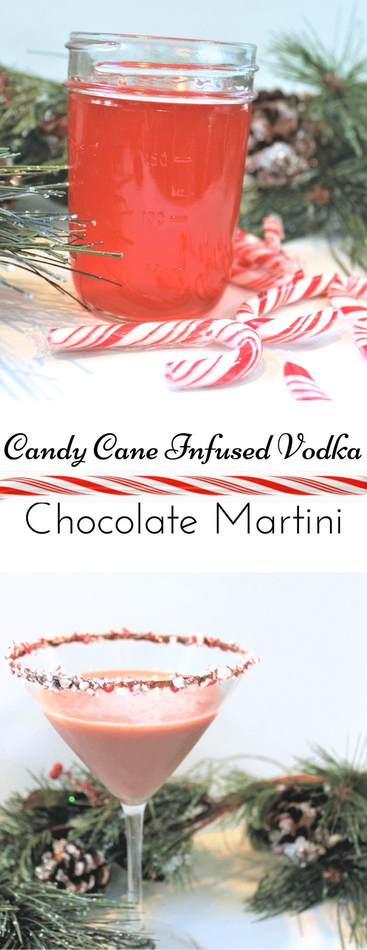 Candy Cane Infused Vodka Chocolate Martini