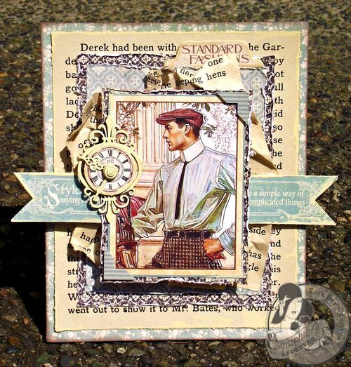 This is a beautiful 10-Minute card by @Tara Orr featuring A Ladies' Diary and she distressed the paper to make a beautiful textured look! #graphic45 #Cards