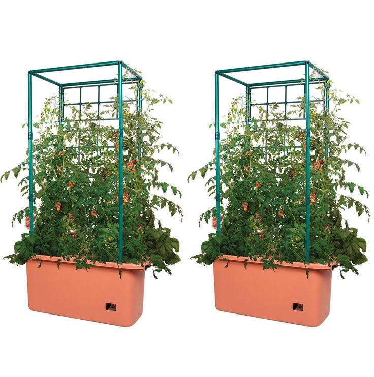 Hydrofarm 10 Gallon Hydroponic Tomato Trellis Garden on Wheels, Pair | GCTR