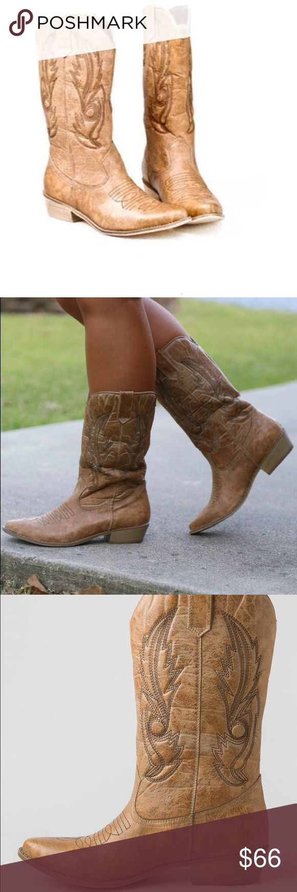 """🌼OFFERS WELCOME🌼NWT cowboy boots Brand new still have the box and never worn Matisse coconuts brand cowboy boots in the color """"gaucho"""". These are seriously adorable with distressed leather look and beauty western black embroidery. Unfortunately I needed a 7, these are 6.5. I paid full price they were over $100. So please don't lowball offer. Cowboy boots are high quality so they are expensive EVERYWHERE. Last 5 pics are mine. Great for concerts and festivals ✨ fp for views Ariat Shoes…"""