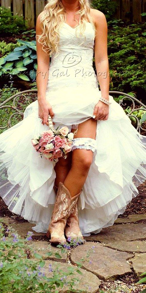 rustic wedding dresses country style bride in boots