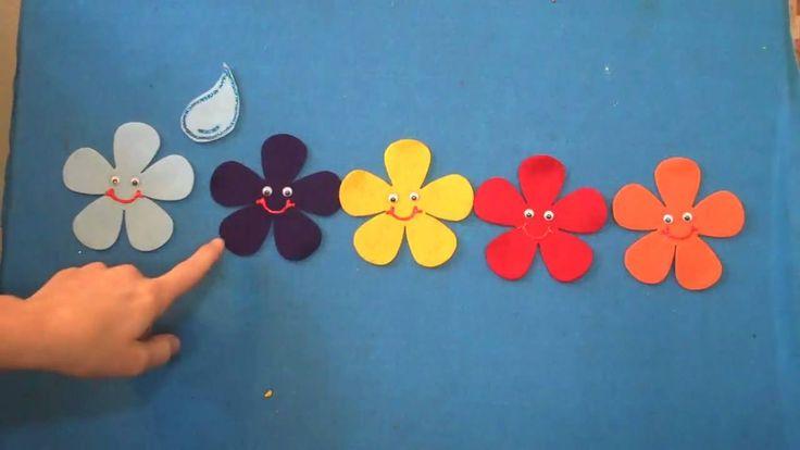 Preschool Songs Five Spring Flowers Children's Music Flannel Board Story