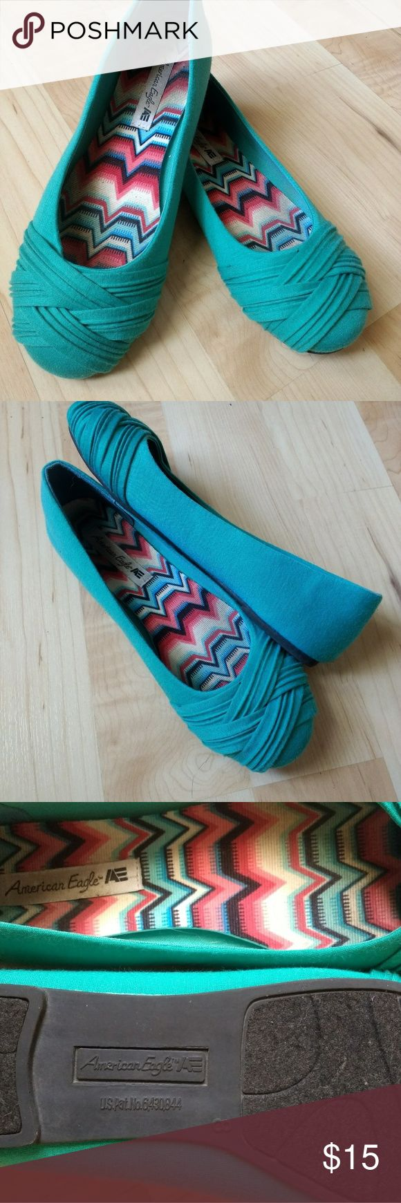 AE Teal Flat Size 8 Cute flat! Good condition. Only worn a handful of times.   Size: 8 Color: Teal Sole: Felt/Rubber American Eagle By Payless Shoes Flats & Loafers