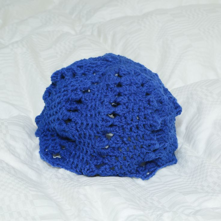 Crocheted blue patterned hat Customizable colors  Adult only