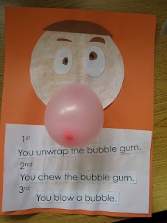 sequencing activity how to blow a bubble. You could also inncorporate a poll about who can blow bubbles.