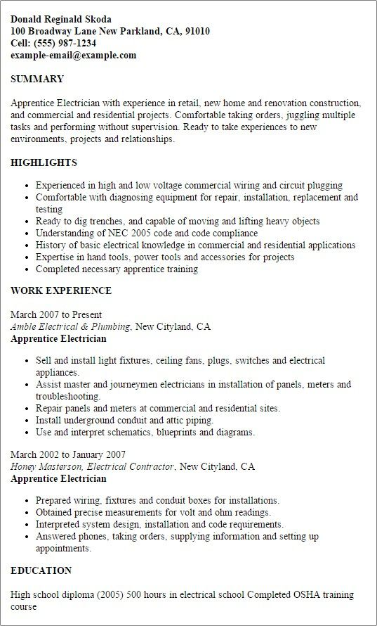 71 New Images Of Resume Examples for Journeyman Electricians ...