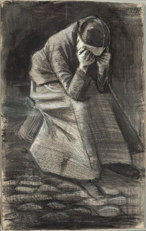 """Vincent van Gogh. """"Weeping Woman,"""" 1883. Black and white chalk, with brush and stumping, brush and black and grey wash, and traces of graphite, over a brush and brown ink underdrawing on ivory wove paper. Art Institute of Chicago."""