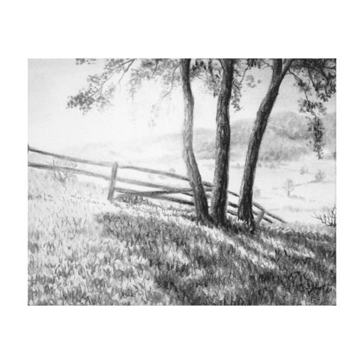 Charcoal Farm Scene Stretched Canvas Print