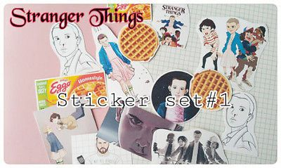 Eleven El waffles Stranger Things TV Netflix Cartoon Diary guitar laptop Sticker