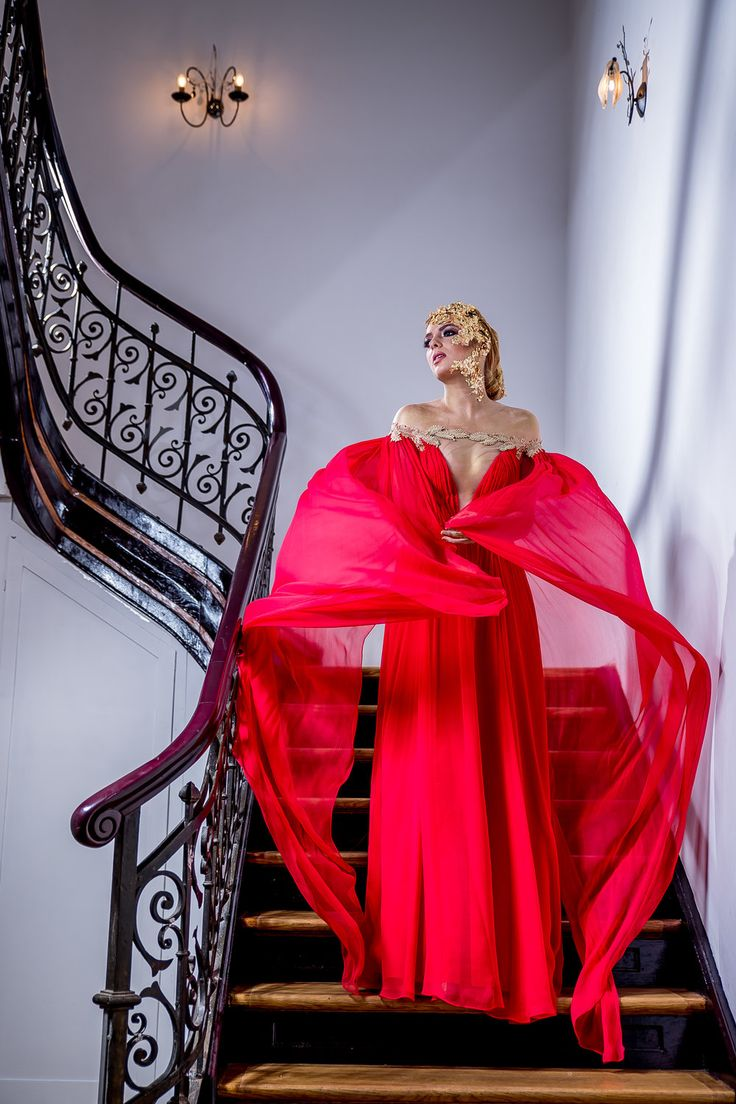 AINI Femme Fatale Style Red Veil Deep V Evening Dress with Cape by Fashion by Laina. See the full Golden Shades collection at www.fashion.eu