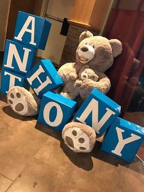 Teddy bear baby name boxes baby shower baby boy #decoracionbabyshowerboy